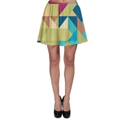 Scattered Pieces In Retro Colors Skater Skirt