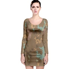 Paint Strokes In Retro Colors Long Sleeve Bodycon Dress
