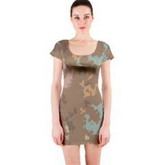 Paint strokes in retro colors Short sleeve Bodycon dress
