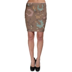 Paint strokes in retro colors Bodycon Skirt