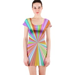 Colorful beams Short sleeve Bodycon dress