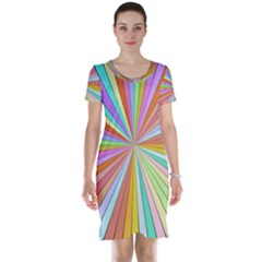 Colorful beams Short Sleeve Nightdress