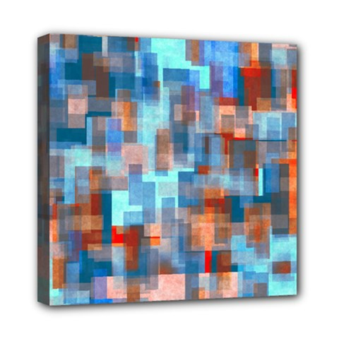 Blue Orange Watercolors Mini Canvas 8  X 8  (stretched)