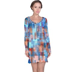 Blue orange watercolors nightdress