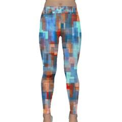 Blue orange watercolors Yoga Leggings