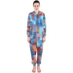 Blue orange watercolors Hooded OnePiece Jumpsuit