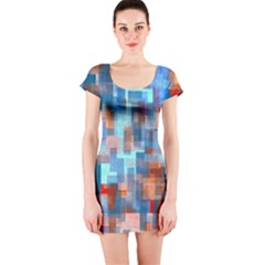 Blue Orange Watercolors Short Sleeve Bodycon Dress
