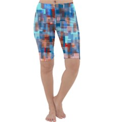 Blue orange watercolors Cropped Leggings