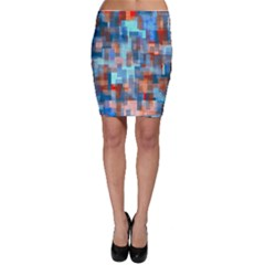 Blue orange watercolors Bodycon Skirt