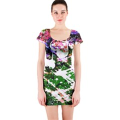 Officially Sexy Floating Hearts Collection Green Short Sleeve Bodycon Dress
