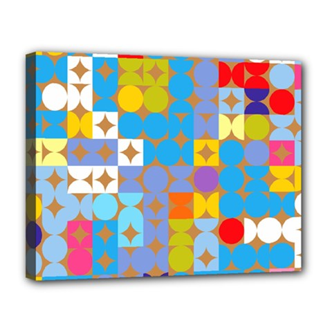 Circles And Rhombus Pattern Canvas 14  X 11  (stretched)