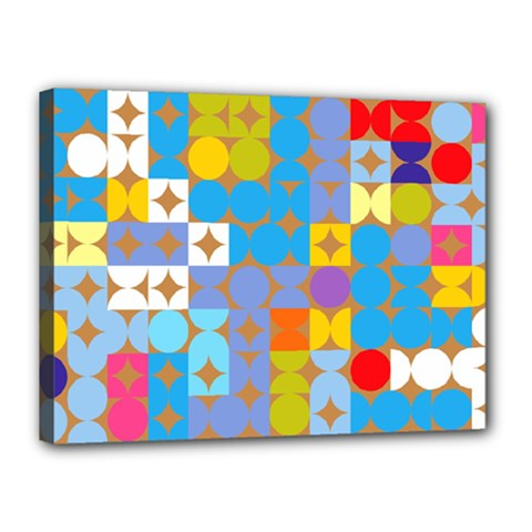 Circles And Rhombus Pattern Canvas 16  X 12  (stretched)