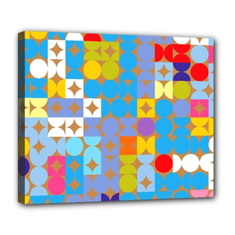 Circles And Rhombus Pattern Deluxe Canvas 24  X 20  (stretched)