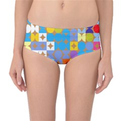 Circles and rhombus pattern Mid-Waist Bikini Bottoms