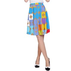Circles and rhombus pattern A-line Skirt