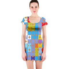 Circles and rhombus pattern Short sleeve Bodycon dress