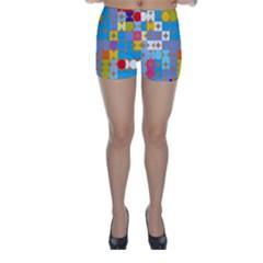 Circles and rhombus pattern Skinny Shorts