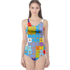 Circles and rhombus pattern Women s One Piece Swimsuit