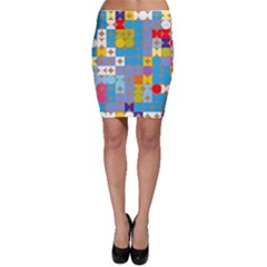 Circles And Rhombus Pattern Bodycon Skirt
