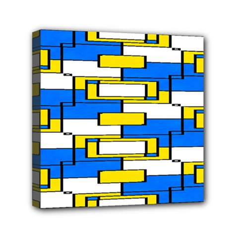 Yellow Blue White Shapes Pattern Mini Canvas 6  X 6  (stretched)