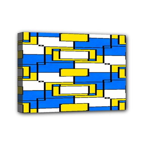 Yellow Blue White Shapes Pattern Mini Canvas 7  X 5  (stretched)
