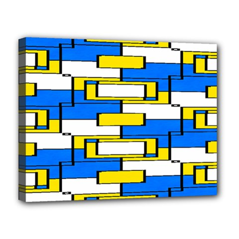 Yellow Blue White Shapes Pattern Canvas 14  X 11  (stretched)