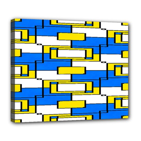 Yellow Blue White Shapes Pattern Deluxe Canvas 24  X 20  (stretched)