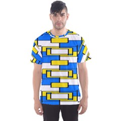 Yellow Blue White Shapes Pattern Men s Sport Mesh Tee