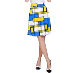 Yellow blue white shapes pattern A-line Skirt