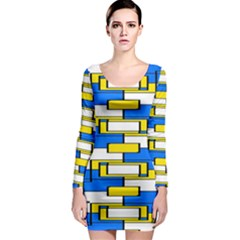 Yellow blue white shapes pattern Long Sleeve Bodycon Dress