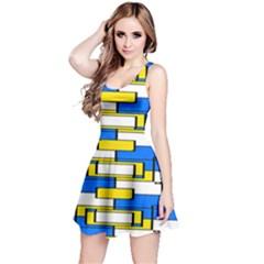Yellow blue white shapes pattern Sleeveless Dress