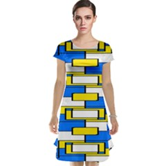 Yellow blue white shapes pattern Cap Sleeve Nightdress
