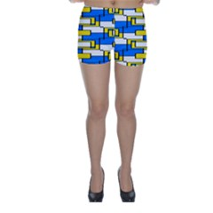 Yellow Blue White Shapes Pattern Skinny Shorts