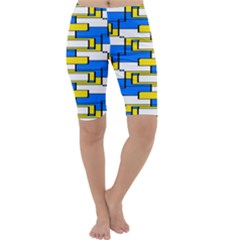 Yellow blue white shapes pattern Cropped Leggings