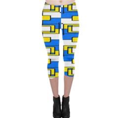 Yellow blue white shapes pattern Capri Leggings