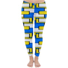 Yellow Blue White Shapes Pattern Winter Leggings