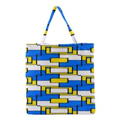 Yellow Blue White Shapes Pattern Grocery Tote Bag