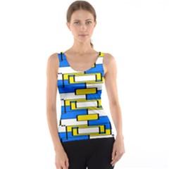 Yellow Blue White Shapes Pattern Tank Top