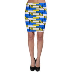 Yellow blue white shapes pattern Bodycon Skirt