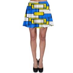 Yellow blue white shapes pattern Skater Skirt
