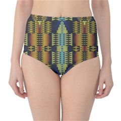 Triangles And Other Shapes Pattern High Waist Bikini Bottoms