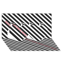 Selina Zebra Twin Hearts 3D Greeting Card (8x4)