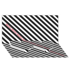 Selina Zebra Twin Heart Bottom 3D Greeting Card (8x4)