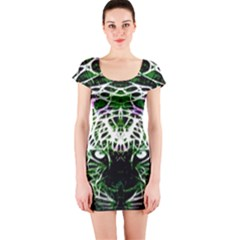 Officially Sexy Panther Collection Green Short Sleeve Bodycon Dress