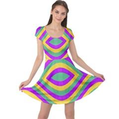 Vintage Geometric Cap Sleeve Dresses