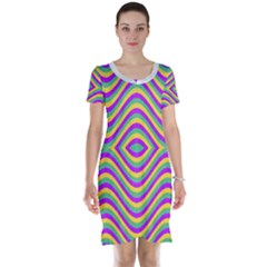 Vintage Geometric Short Sleeve Nightdresses