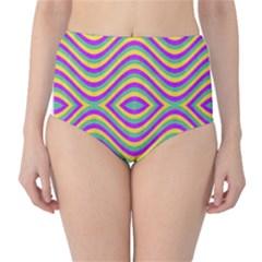 Vintage Geometric High Waist Bikini Bottoms