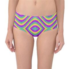 Vintage Geometric Mid-Waist Bikini Bottoms