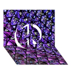 Blue Purple Shattered Glass Peace Sign 3d Greeting Card (7x5)