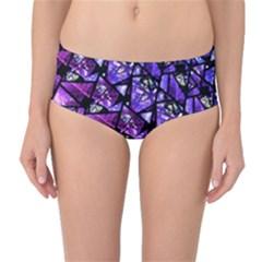 Blue purple Shattered Glass Mid-Waist Bikini Bottoms